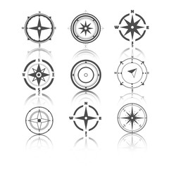 Wind rose compass flat vector symbols set