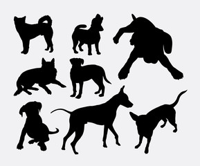 Dog pet animal silhouette 04. Good use for symbol, logo, web icon, mascot, sign, sticker design, or any design you wany. Easy to use.