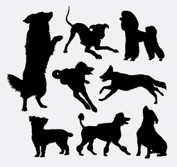 Dog pet animal silhouette 06. Good use for symbol, logo, web icon, mascot, sign, sticker design, or any design you wany. Easy to use.