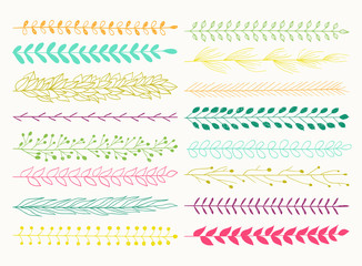 Vector set of seamless brushes isolated.