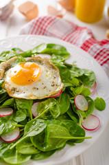 Fresh spinach, radish salad with fried egg