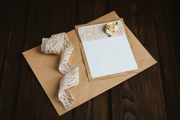Cardboard card with flower