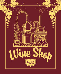 sign for the wine shop with a picture of the winery and grapes