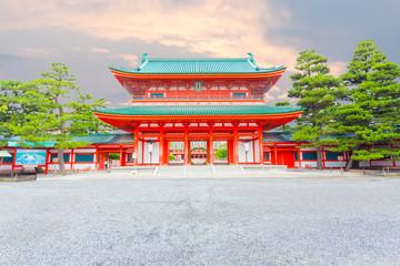 Heian-Jingu Shrine Main Ro-Mon Entrance Sunset H Wall mural