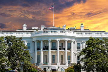 Wall Mural - Washington White House on sunset