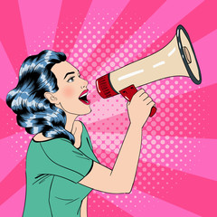 Pop Art Style Woman with Megaphone