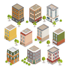Isometric City Buildings Set. European Houses with Trees and Plants