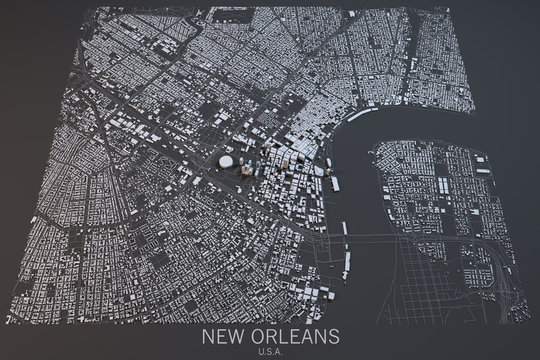 New Orleans mappa, vista satellitare, Louisiana, Stati Uniti