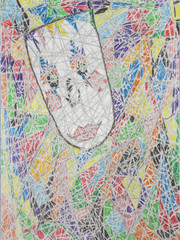 freehand drawing wax crayons abstract colorful