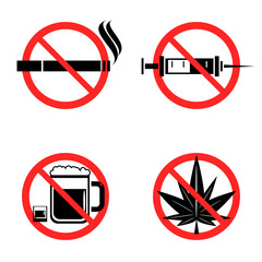No Drugs Icons Set