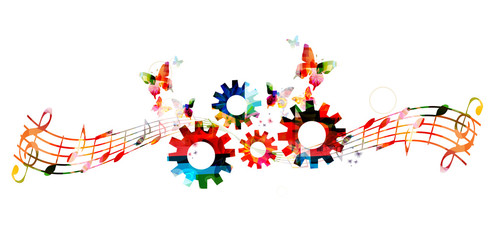 Colorful music notes background with gears.