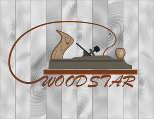 a tool for working with wood. plane on a background of a set of boards with a beautiful texture