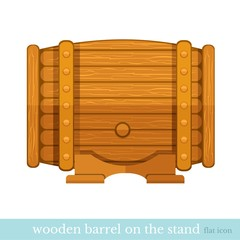 wooden barrel on stand flat icon on white