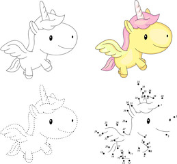 Cartoon unicorn. Dot to dot game for kids