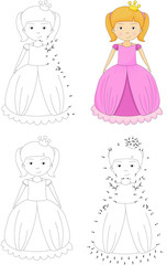 Cartoon princess. Coloring book and dot to dot game for kids