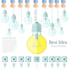 many lamp or lightbulb light off and only one light on with plug and socket Idea flat background