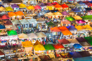 Top view colourful over Weekend market at night