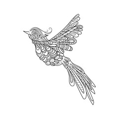 Flying bird. Zentangle stile. Hand drawn illustration