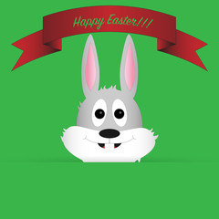 Easter bunny with ribbon as a greeting card