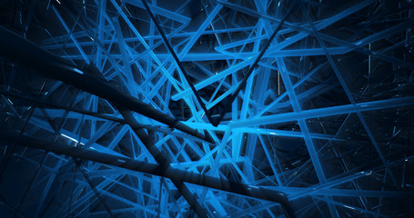 Abstract Futuristic Background with Shining Light - Digital Art Concept