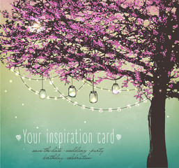 Inspiration card for wedding, date, birthday, tea and garden party.  Beautiful pink tree with decorative lights for party