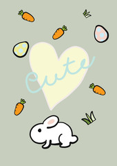 Cute bunny with carrots and easter eggs