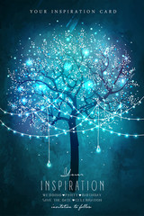 Inspiration card for wedding, date, birthday, tea party. Beautiful magic tree with decorative lights for party