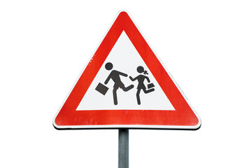 Road sign caution children isolated on white