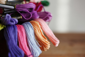 Multicolored long rope in a bunch