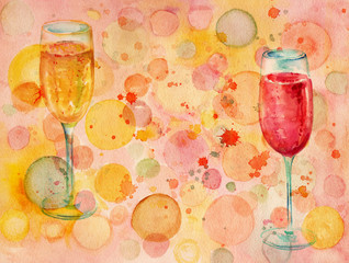 Watercolor banner with bubbles, two glasses of champagne, and colored bubbles