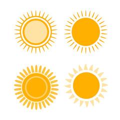 sun icon set yellow symbol sign graphic