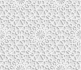 Seamless white geometric  pattern, east ornament, indian ornament, persian motif, vector. Endless texture can be used for wallpaper, pattern fills, web page  background,surface textures.