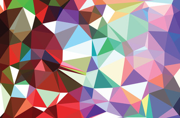 Multicolor abstract rumpled triangular background, low poly