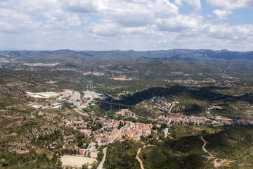 Wide view from the beautiful mountains of Montserrat where a famous benedictine abbey is located near Barcelona city, Spain.
