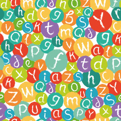 Vector seamless pattern - funny english alphabet. Hand drawn chalk like letters in colorful circles.