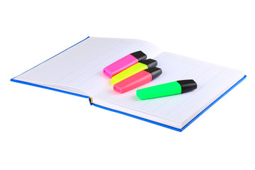 notebook and colored markers