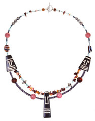 african style necklace from natural gemstones