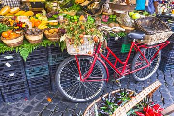 Fruit market with old bike in Campo di Fiori, Rome