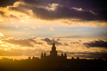 Sunset Moscow State University in winter