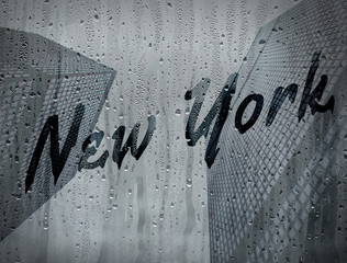 New York written on a foggy window