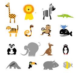 collection of cute wild cartoon animals / set of vector animals illustration for children