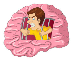 Cartoon illustration of a man breaking free from brain