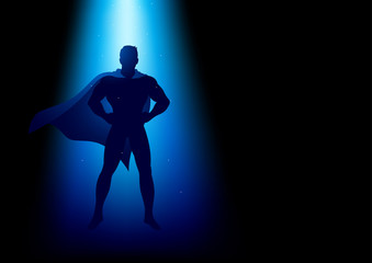 Superhero standing under the blue light
