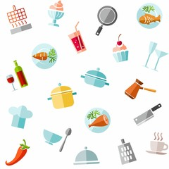 Background, cooking, colored icons.