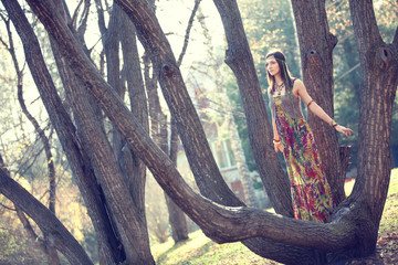 Hippie Girl and tree