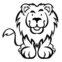 Cute lion cartoon isolated on white background as package design
