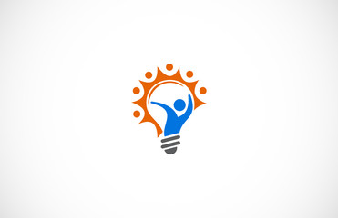 abstract people bulb logo