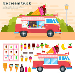 Ice cream truck in a hot day