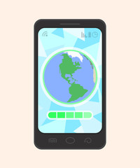 Colorful vector smartphone with the Earth, an abstract background, a progress bar and other symbols. Made with transparency.