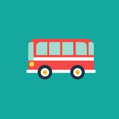 Bus flat icon, vector illustration